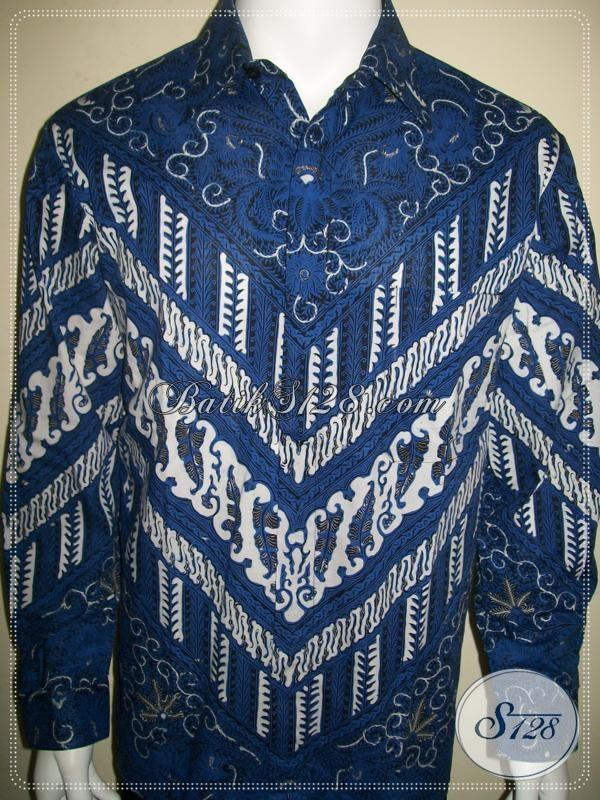 Hem Batik Biru Lengan Panjang Tampil Stylish Untuk Eksekutif Muda Sukses [LP959BT-L]