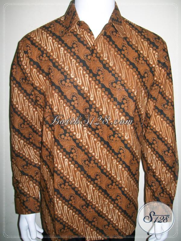Kemeja Batik Klasik Motif Parang Warna Coklat Soga, Untuk Kondangan Dan Acara Resmi