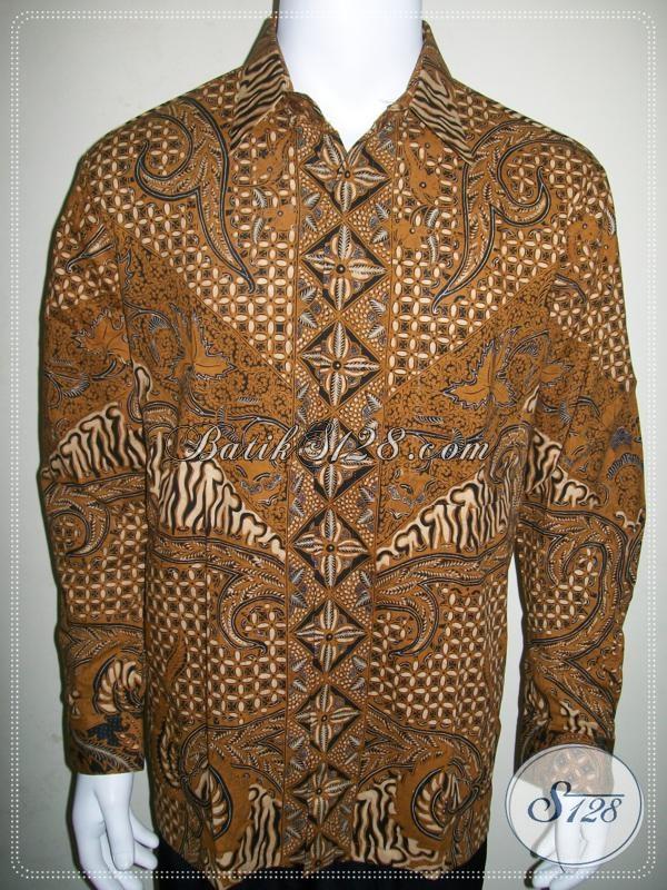Kemeja Batik Lengan Panjang Warna Coklat Soga, Untuk Pejabat Dan Pengusaha [LP962BT-L]