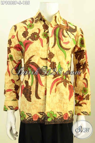 Batik Hem Pria Lengan Panjang, Pakaian Batik Elegan Buat Acara Resmi, Proses Printing Bahan Adem Size S 100 Ribuan