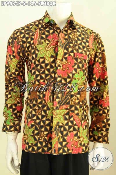 Hem Batik Klasik Motif Slobok, Kemeja Batik Solo Halus Proses Printing Model Lengan Panjang, Elegan Buat Kondangan Hanya 135K [LP9684P-S]