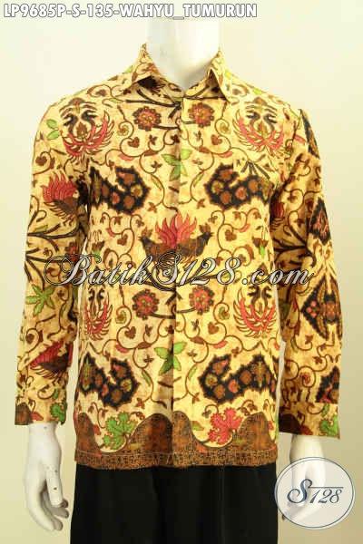 Hem Batik Klasik Lengan Panjang 100 Ribuan, Pakaian Batik Berkelas Motif Wahyu Tumurun Proses Printing Hanya 135K, Size S