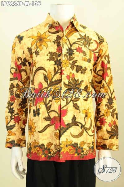 Batik Hem Solo Elegan Berkelas, Baju Batik Lelaki Muda Lengan Panjang Motif Klasik Printing, Di Jual Online 135K, Size M