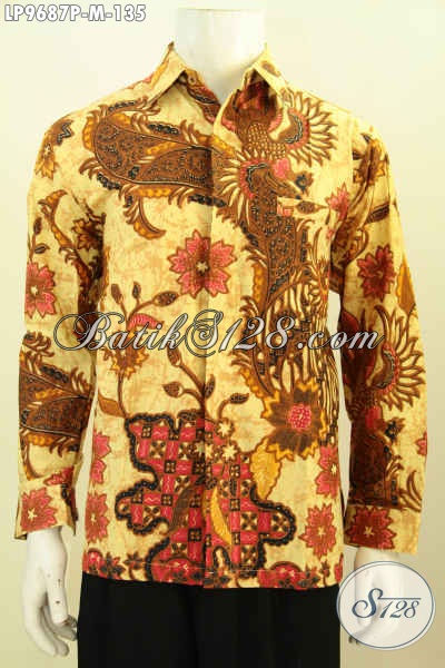 Hem Batik Elegan Lengan Panjang, Pakaian Batik Halus Motif Bagus Proses Printing, Di Jual Online 135 Ribu, Pria Tampil Berwibawa [LP9687P-M]