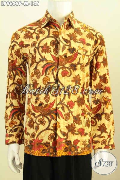 Toko Pakaian Batik Modern, Sedia Kemeja Lengan Panjang Kwalitas Istimewa Buatan Solo Asli Proses Printing Bikin Penampilan Lebih Gagah Berkarakter [LP9689P-M]