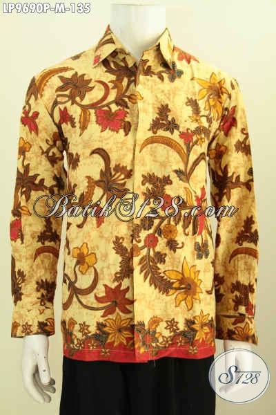 Baju Batik ELegan Klasik Motif Bunga, Hem Batik Lengan Panjang Printing Buatan Solo Asli, Pas Buat Acara Resmi, Size M