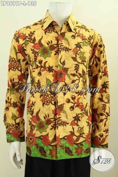 Hem Batik Elegan Motif Bunga, Baju Batik Printing Lengan Panjang Istimewa Kwalitas Bagus Hanya 100 Ribuan [LP9691P-L]