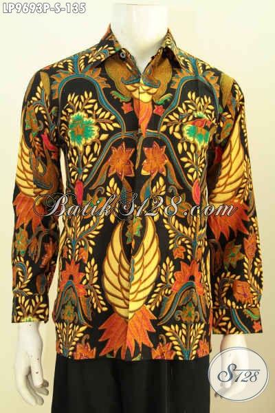 Hem Batik Klasik Lengan Panjang Buatan Solo, Pakaian Batik Berkelas Yang Bikin Pria Terlihat Gagah Dan Tampan, Proses Printing Harga 135K [LP9693P-S]