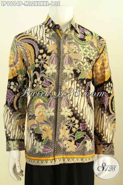 Jual Model Baju Batik Lengan Panjang Pria Modern, Hem Batik Halus Motif Klasik Proses Printing, Pas Untuk Acara Resmi [LP9694P-M , XXL]