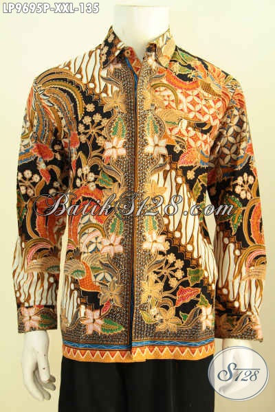 Jual Batik Hem Solo Lengan Panjang Motif Mewah, Pakaian Batik Elegan Untuk Rapat Dan Acara Resmi Harga 135K, Size XXL
