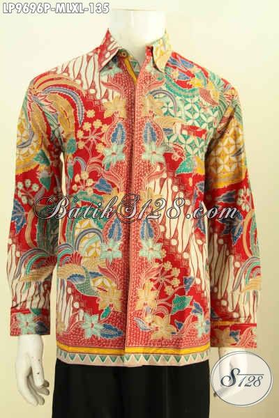 Baju Batik Buat Pria Model Lengan Panjang, Pakaian Batik Elegan Motif Bagus Proses Printing, Di Jual Online Hanya 135K [LP9696P-M , L]