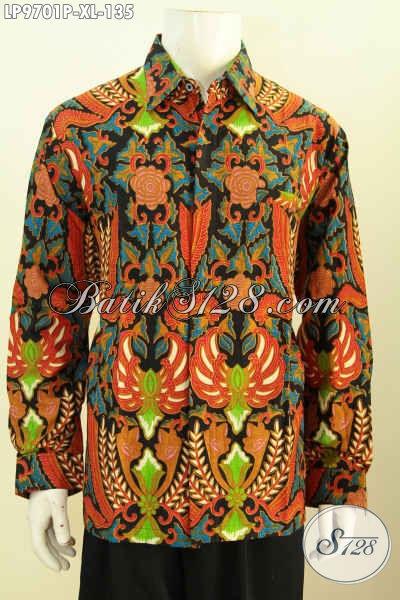 Toko Pakaian Batik Solo Elegan Koleksinya, Sedia Kemeja Lengan Panjang Halus Proses Printing Bahan Adem Untuk Kerja Dan Rapat, Size XL