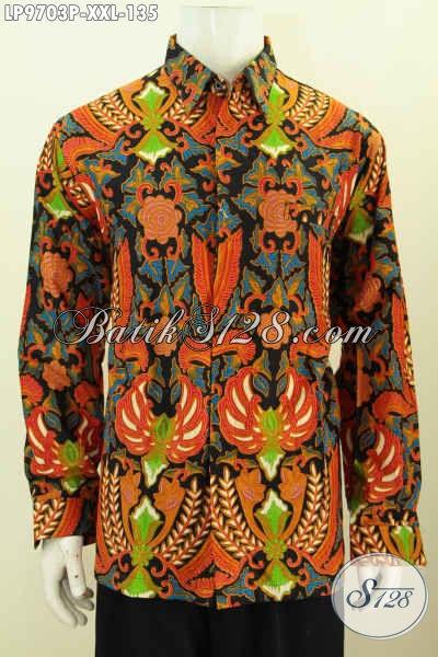 Hem Lengan Panjang Batik Big Size, Busana Batik Istimewa Motif Mewah Desain Kekinian, Spesila Untuk Pria Gemuk Tampil Berkelas [LP9703P-XXL]
