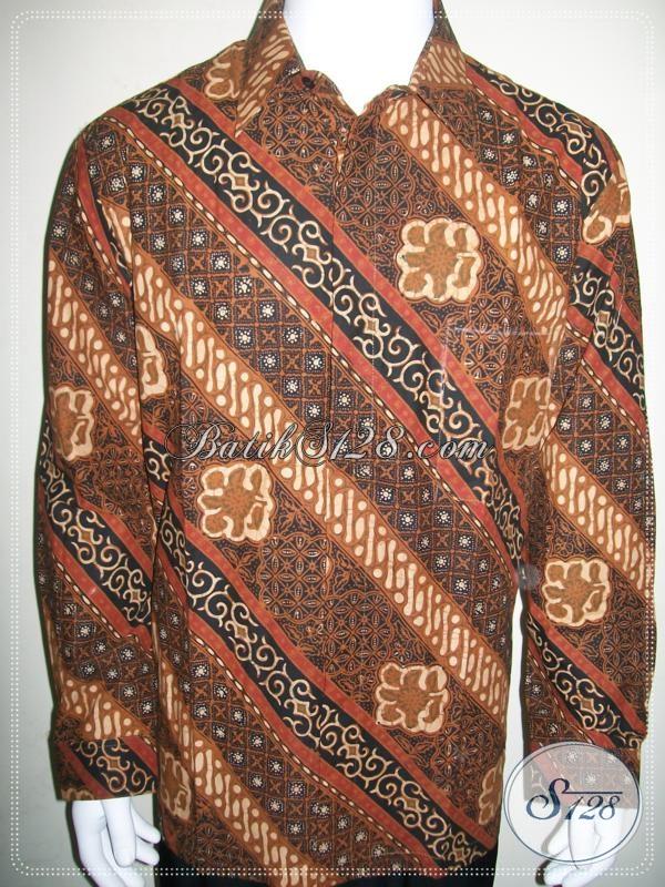 Batik Warna Coklat Motif Parang Untuk Laki-Laki Pergi Ke Kondangan Dan Acara Resmi
