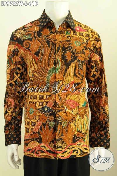 Sedia Hem Batik Mewah Buatan Solo, Baju Batik Klasik Tulis Asli Lengan Panjang Desain Terbaru Daleman Full Furing Harga 610 Ribu [LP9732TF-L]