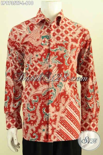 Jual Online Baju Batik Mewah Lengan Panjang, Pakaian Batik Solo Premium Full Furing Bahan Adem, Cocok Buat Acara Resmi [LP9735TF-L]