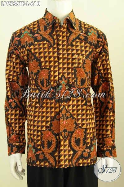 Produk Baju Batik Klasik Mewah Proses Tulis, Hem Batik Istimewa Lengan Panjang Full Furing, Bikin Penampilan Pria Lebih Elegan Dan Ganteng Maksimal [LP9736TF-L]