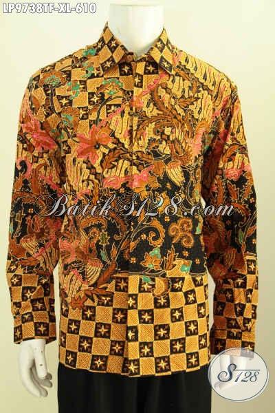 Baju Batik Pria Branded, Kemeja Batik Solo Premium Lengan Panjang Motif Klasik Tulis Asli, Baju Batik Istimewa Buat Kondangan Dan Rapat, Size XL