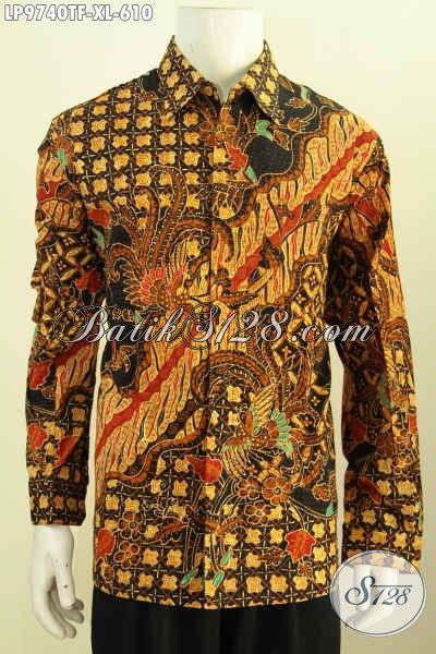 Batik Hem Pria Halus Full Furing Keren Modis, Pakaian Batik Solo Elegan Lengan Panjang Tulis Asli, Cocok Untuk Rapat, Size XL