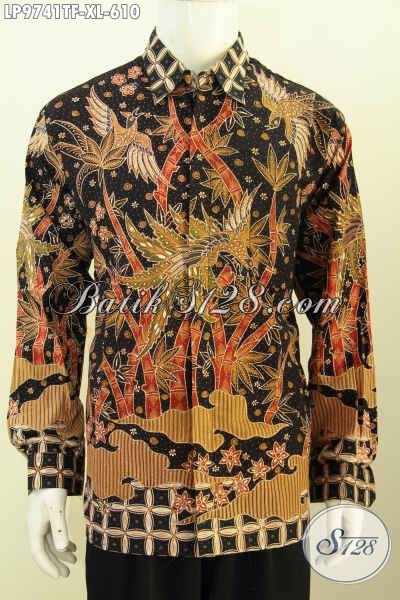 Batik Hem Istimewa Model Lengan Panjang Full Furing, Pakaian Batik Berkelas Yang Bikin Cowok Terlihat Gagah Dan Tampan [LP9741TF-XL]