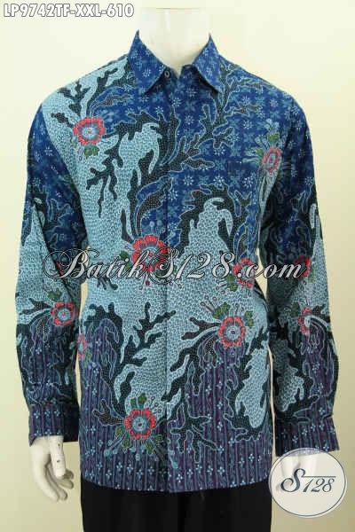 Hem Batik Big Size Premium, Kemeja Lengan Panjang Full Furing Bahan Halus Motif Klasik Tulis Asli Harga 610K [LP7842TF-XXL]