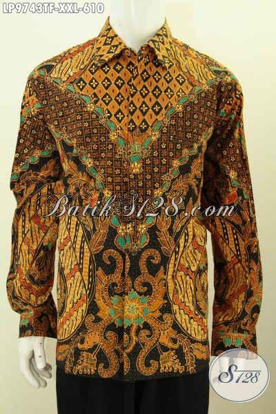 Batik Kemeja Pria Terbaru, Hem Batik Jumbo 3L Lengan Panjang Pakaian Furing Bermotif Klasik Tulis Asli Hanya 600 Ribuan [LP9743TF-XXL]