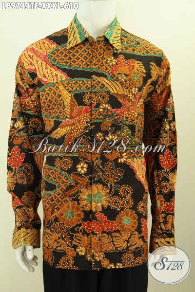 Sedia Kemeja Batik Mewah Super Jumbo, Pakaian Batik Lengan Panjang Full Furing 4L Bahan Halus Motif Elegan Harga 610K [LP9744TF-XXXL]