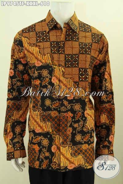 Baju Batik 4L Lengan Panjang Full Furing Mewah, Pakaian Batik Hem Istimewa Motif Klasik Buatan Solo, Bikin Pria Gemuk Terlihat Mempesona [LP9745TF-XXXL]