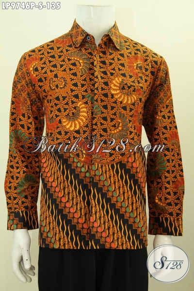 Contoh model baju batik pria slim fit klasik motif 3 dimensi
