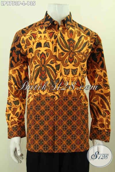 Baju Kemeja Batik Formal Kwalitas Bagus Motif Klasik, Hem Batik Printing Lengan Panjang Solo Istimewa Hanya 135K [LP9753P-L]