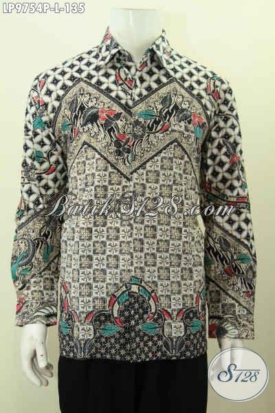 Batik Hem Elegan Lengan Panjang, Kemeja Batik Klasik Printing Solo Halus, Cocok Buat Kondangan [LP9754P-L]