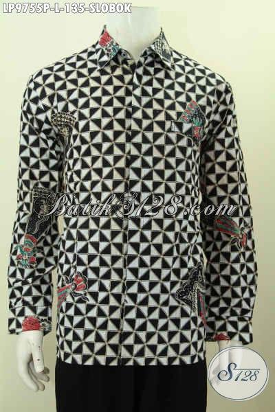 Baju Batik Hem Elegan Motif Slobok, Pakaian Batik Berkelas Buatan Solo Proses Printing, Cocok Untuk Acara Resmi Tampil Berwibawa [LP9755P-L]