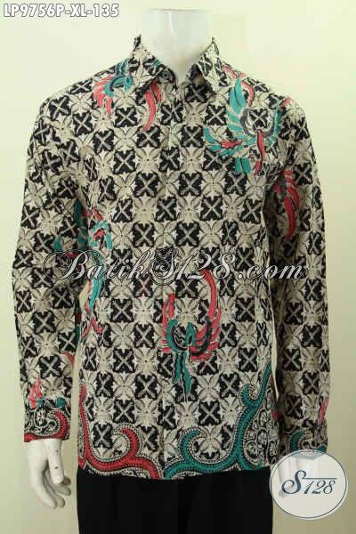 Baju Batik Lengan Panjang Pria Murah, Hem Elegan Berkelas Motif Klasik Printing Bahan Halus, Penampilan Makin Gagah, Size XL