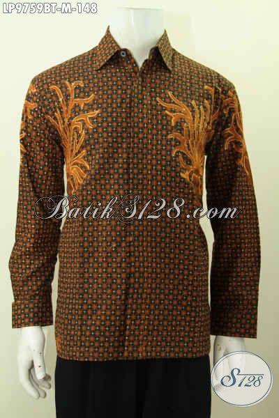 Batik Hem Klasik Kombinasi Tulis, Pakaian Batik Elegan Dan Mewah Model Lengan Panjang Harga 148K [LP9759BT-M]