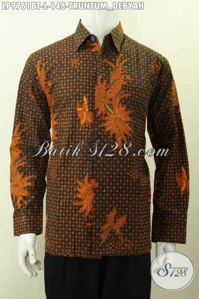 Pakaian Batik Elegan Mewah Motif Truntum Debyah, Hem Batik Lengan Panjang Halus Model Kekinian Bahan Adem Proses Kombinasi Tulis [LP9761BT-L]