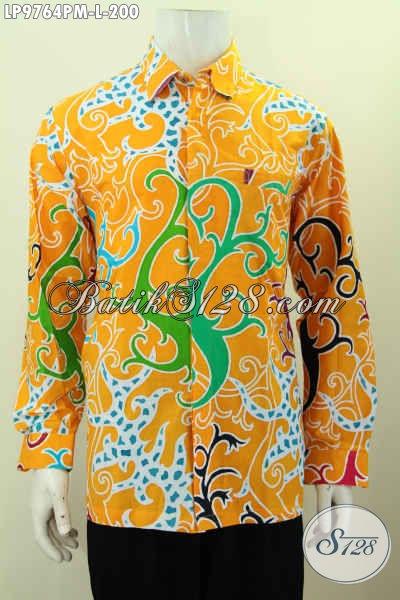 Kameja Batik Warna Cerah, Hem Batik Elegan Nan Modis Lengan Panjang Bahan Adem Motif Unik Proses Kombinasi Tulis 200K [LP9764PM-L]