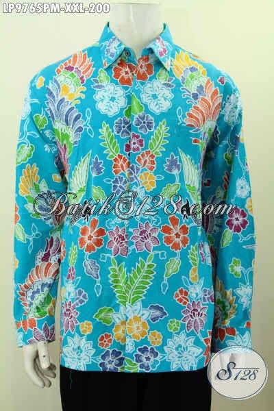 Hem Batik Pria Gemuk Warna Biru Cerah Motif Bunga, Pakaian Batik Solo Terbaru Untuk Pesta, Size XXL