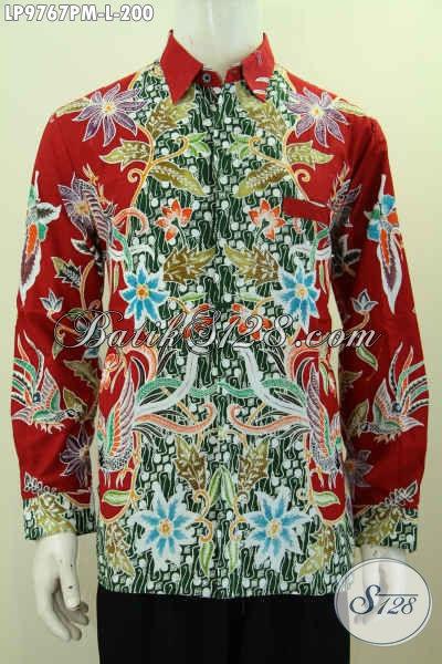 Kemeja Batik Kombinasi Tulis Motif Mewah, Hem Batik Merah Desain Terbaru Yang Bikin Pria Terlihat Gagah, Size L