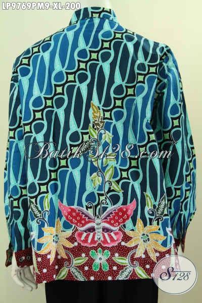 Kemeja Batik Pria Dewasa, Hem Batik Solo Halus Motif Mewah Kombinasi Tulis, Baju Batik Lengan Panjang Berkelas Penampilan Makin Sempurna [LP9769PM-XL]