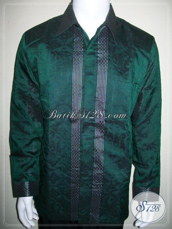 Jual Baju Tenun Pria Model SBY Elegan Warna Hijau, Mewah Dan Eksklusif [LP976NF-XL]