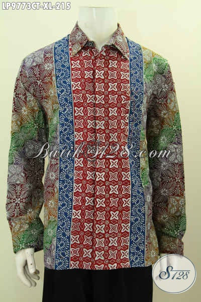 Kemeja Batik Pria Dewasa, Hem Batik Solo Lengan Panjang Motif Kombinasi Proses Cap Tulis Desain Kekinian Tampil Menawan [LP9773CT-XL]