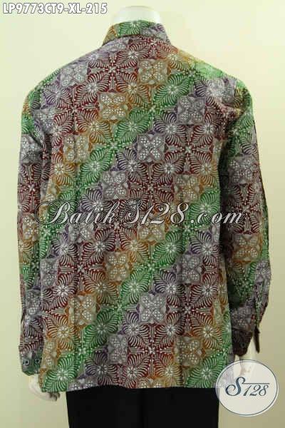 Produk Batik Koleksi 2017, Hem Lengan Panjang Mewah Motif Modern Klasik Proses Cap Tulis, Di Jual Online 215K, Size XL