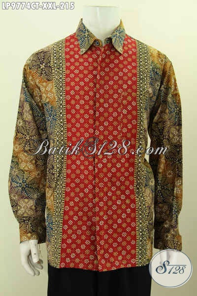 Hem Batik Istimewa Koleksi 2017, Baju Batik Lengan Panjang Dengan Motif Kombinasi Proses Cap Tulis, Bisa Untuk Santai Dan Resmi, Size XXL