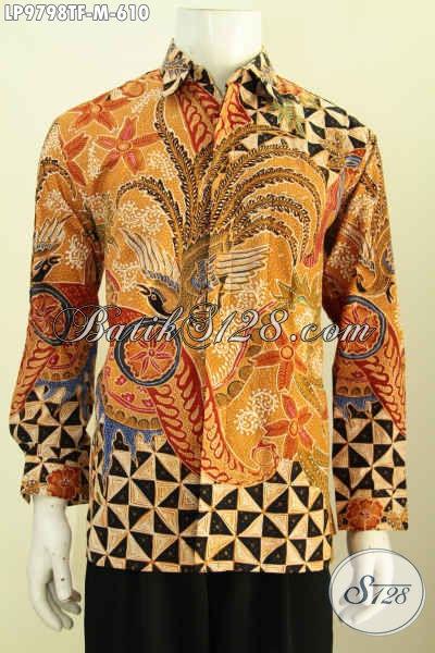 Pakaian Batik Solo Mewah Lengan Panjang Full Furing Untuk Pria Muda, Pakaian Batik Khas Pejabat Penampilan Lebih Berwibawa, Size M