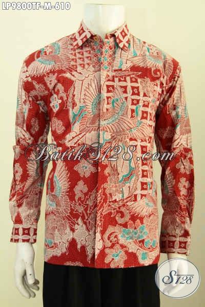 Jual Baju Baitk Kerja Khas Pejabat, Pakaian Batik Solo Elegan Dan Mewah Bahan Halus Lengan Panjang Full Furing Motif Bagus Banget, Penampilan Makin Sempurna, Size M
