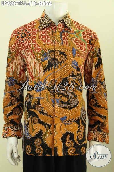 Baju Batik Mewah Premium Buatan Solo, Hadir Dengan Motif Naga Model Lengan Panjang Full Furing, Proses Tulis Tangan Size L Harga 610 Ribu