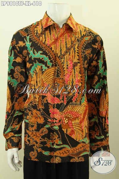 Batik Kemeja Lengan Panjang Berkelas Full Furing, Pakaian Batik Mewah Halus Buatan Solo Motif Klasik Size XL Harga 610K [LP9810TF-XL]