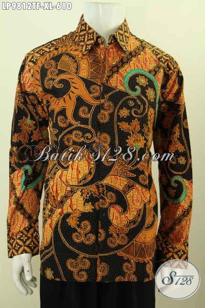 Batik Kemeja Seragm Kerja Lengan Panjang Mewah, Baju Batik Hem Full Furing  Motif Klasik, Baju Batik Tulis Asli Desain Berkelas, Harga 600 Ribuan [LP9812TF-XL]