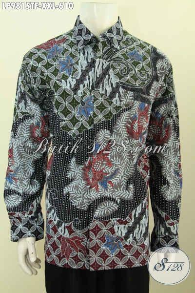 Jual Kemeja Batik Premium, Baju Batik Solo Mewah Full Furing Lengan Panjang Buatan Solo Motif Klasik Tulis Asli Yang Membuat Pria Gemuk Gagah Dan Tampan [LP9815TF-XXL]