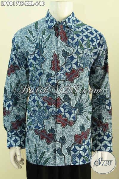 Sedia Kemeja Lengan Panjang Premium Solo Size XXL, Baju Batik Mewah Pria Gemuk Full Furing Motif Klasik Tulis Asli Harga 610K